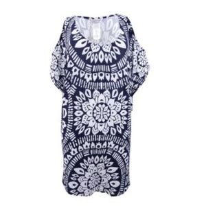 NWT Trina Turk Printed Cold shoulder Tunic Coverup